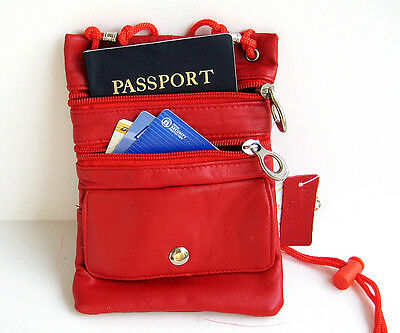 Red Soft Leather Passport ID Holder Neck Pouch Travel Cross Body Strap Bag