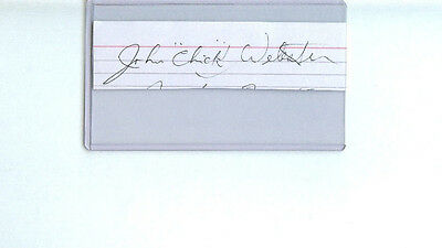 John Chick Webster Signed Index Card Cut Autograph Ny Rangers 1949-50 14 Games