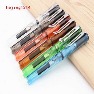 Jinhao 599 Transparent 6pcs Colour stationery student office Fountain Pen New