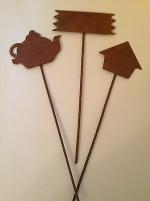 Rusty Patina Garden Picks/Plant Markers - Set of 3
