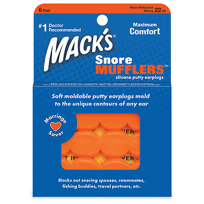 Macks Moldable SNORE Mufflers Silicone Ear Plugs Travel COMFORT Study Earplugs