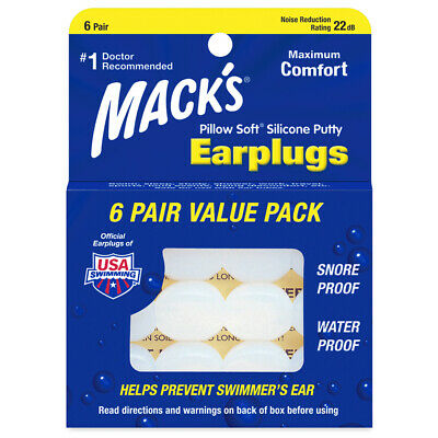 Macks Moldable Pillow SOFT Silicone Ear Plugs SLEEP Travel SWIM Mack's Earplugs