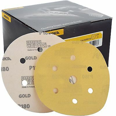 "Mirka Gold Hook-It DA Sanding Discs � 150mm 6"" 180 Grit 6+1 Hole Sander Pads"