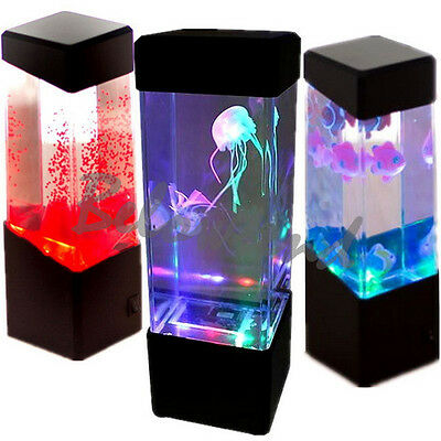 Jellyfish Underwater Aquarium Tank LED Colourful Mood Light Lamp Decoration XD
