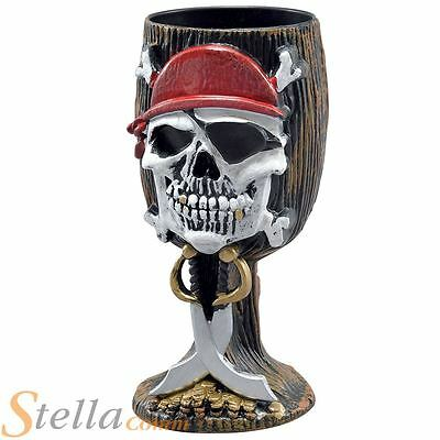 Pirate Skull Goblet Fancy Dress Accessory Halloween Party Prop Decoration