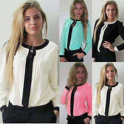 Sexy Women Ladies Crew Neck Chiffon Long Sleeve Loose OL Casual Shirt Top Blouse