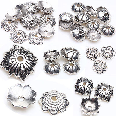 New Tibet Silver Plated DIY Metal Loose Spacer Bead Flower Caps Jewelry Finding