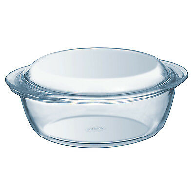 Pyrex Essentials 1 Litre High Resistance Round Glass Casserole Dish With Lid New