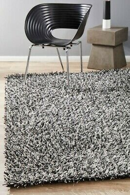 OLENA SHAGGY RUG BLACK WHITE Soft Quality Non Shed Shag Large Mat FREE DELIVERY*