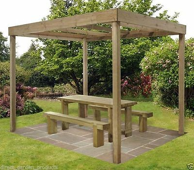 10ft x 8ft OUTDOOR WOODEN DINING ARBOUR PRESSURE TREATED PERGOLA SHELTER NEW