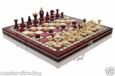 Great ''red Kingdom'' Wooden Chess And Draughts Set! 100% Hand Crafted Item !!!
