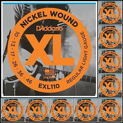 D'Addario EXL110 Nickel Wound Light Electric Guitar Strings 10 - 46 x 10 Sets