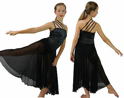 Black Glitter Modern Dance Lyrical Ballet Dress Costume - S M L 6 8 10 12 14