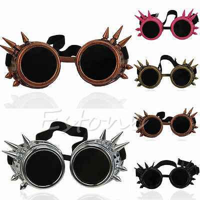 Vintage Victorian Rivet Steampunk Goggles Glasses Welding Cyber Gothic Cosplay