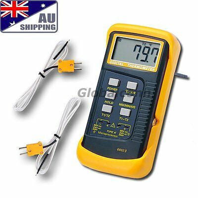 AU Ship Digital Thermometer Thermocouple Sensor 1300°C 2 K-Type