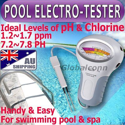 AU pH & Cl2 Chlorine Level Tester Swimming Pool Water spa water quality monitor