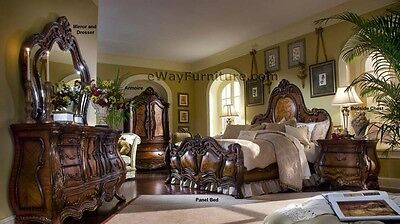 AICO Chateau Beauvais King Panel Bed 4PC Bedroom Set Master Bedroom Furniture