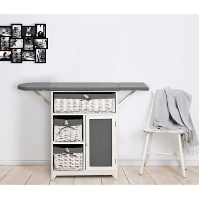 Mobili Rebecca® Ironing Board Cabinet Baskets 1 Door White Grey Country