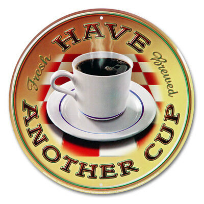 Coffee Have Another Cup Diner Metal Sign Cafe Kitchen Wall Decor 12 in.