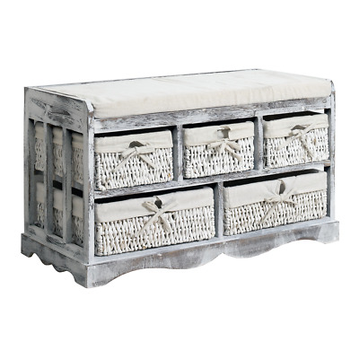 Mobili Rebecca® Bench Seat Cabinet 5 Wicker Baskets White Grey Country Hall