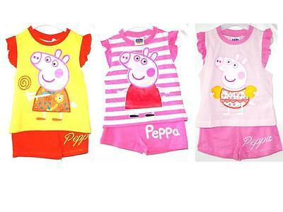 Peppa Pig Girls Shorts T shirt Pyjamas Summer Holiday Clothing 2 3 4 5 6 Years!