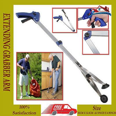 2 x NEW EXTENDING GRABBER ARM LITTER PICKER CLAW PICK UP RUBBISH HELPING HAND