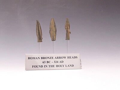 A Set Of Three Roman Bronze Arrowheads