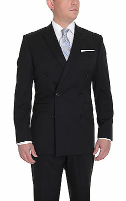 Calvin Klein Slim Fit Solid Black Two Button Double Breasted Wool Suit