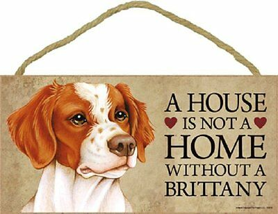 Brittany Wood Dog Sign Wall Plaque 5 x 10 for Dog Lovers Gift House Leash Bone