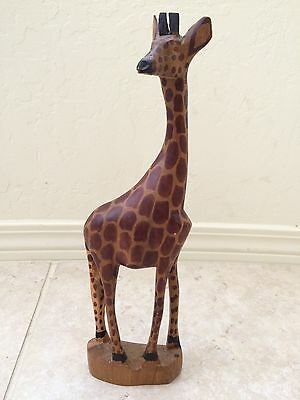 Hand CARVED wood GIRAFFE african art SCULPTURE animal UNIQUE Kenya Figurine