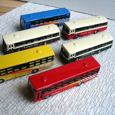 N Scale 1:160 Diecast Mini Buses Model for Railway - 6 pack