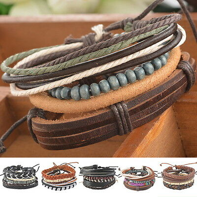 1Set Braided Adjustable Leather Bracelet Punk Jewelry Cuff Women/Men`s Gift