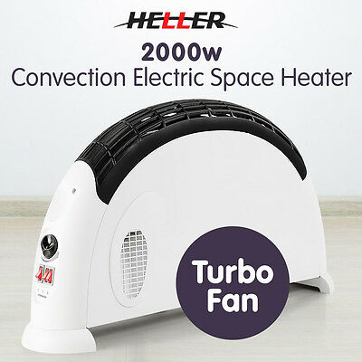 New Heller 2000W Convection Electric Fan Heater Adjustable Thermostat Portable