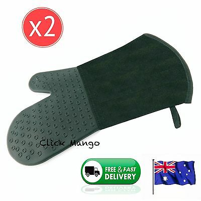 2 x New Silicone Fabric Oven Kitchen Glove Mitt Cotton Heat Resistant - 35 cm