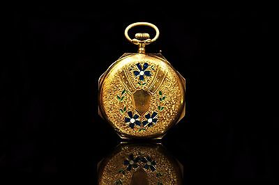 Antique Original Perfect 14K Gold Enamel European Ottoman Face Pocket Watch