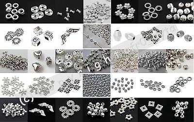 100 Silver Spacer Beads For Jewellery Making Different Styles BUY 3 FOR 2