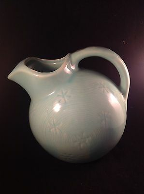 "Shawnee Pottery Snowflake Ball Jar Pitcher Aqua 7 1/2"" USA Mark"