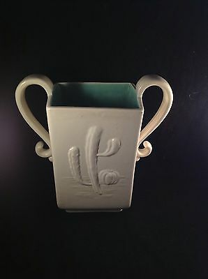 Red Wing Pottery Cactus Vase #764 Cream & Green