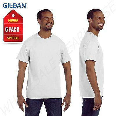 NEW 6 PACK Gildan Men's Short Sleeves White 100% Cotton T-Shirt W-G500