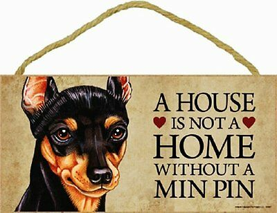 Miniature Pinscher Wood Dog Sign Wall Plaque 5 x 10 for Dog Lovers Gift House