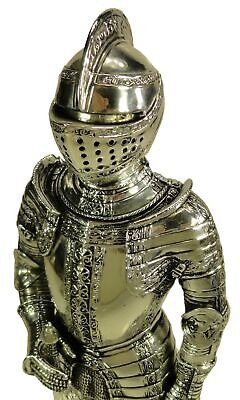 "13"" Medieval Times Crusades Knight Chrome Plated Swordsman Statue"