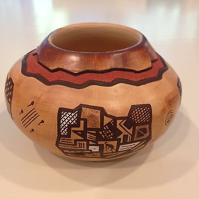 """Hopi Pottery Jar by Beulah Naha 3 1/2"""" H x 5 1/2"""" Wide Titled My Roots"""