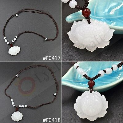 1 Pc Hand Carved Natural White Jade Lotus Flower  Pendant Heian Woven Necklace