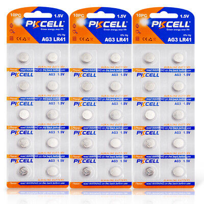 40PC LR41 392A 192 SR41 LR736 CX41 392 AG3 1.5V Button Cell Watch Battery PKCELL