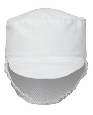 Unisex Restaurant Cafe Fast Food Prep Hat Hospitality Fitted Mesh Peek Cap White