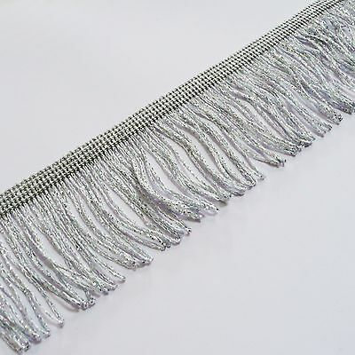 "Silver Lurex Metallic Looped Dress Fringe 50mm wide 2"" craft, fashion, by the M"