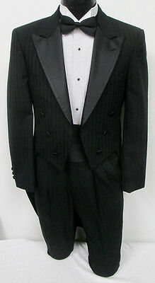 Black Christian Dior Tuxedo Tailcoat With Pants Wedding Prom Formal Mason 38L