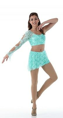 Promise Dance Costume Contemporary Lyrical Dress MINT Ballet Tap Child X-Small
