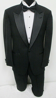 Black Christian Dior One Button Satin Peak Lapel Tuxedo Prom Wedding Formal 35S
