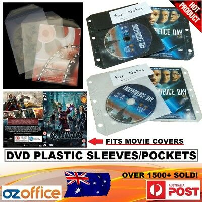 PREMIUM 100 x DVD Plastic Sleeve Fits Movie Cover w/ Flap or Ring Binder Folder